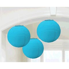 Caribbean Blue Round Paper Lanterns