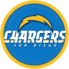 Los Angeles Chargers Round Plates 9in