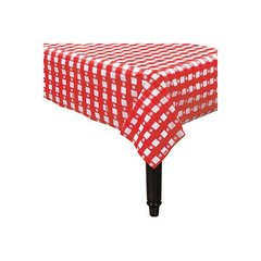 "Gingham Check Red Plastic Table Cover, 54"" x 108"""