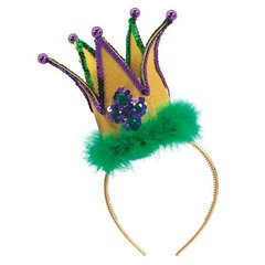Jester Fashion Fabric Headband w/ Marabou