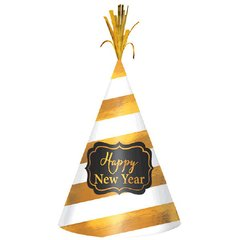 """""""2018"""" New Year's Cone Hat - White/Gold Stripe"""