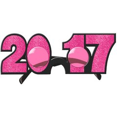 2017 New Year's Glitter Glasses - Bright Pink