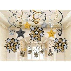 Hollywood Mega Value Pack Foil Swirl Hanging Decorations
