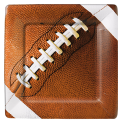 Football Fan Square Plates, 7""