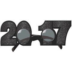 2017 New Year's Glitter Glasses - Black