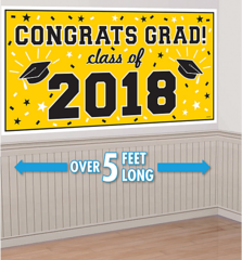 """2018"" Yellow Grad 2018 Horizontal Banner"