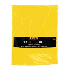 "Yellow Sunshine Solid Color Plastic Table Skirt, 14' x 29"""