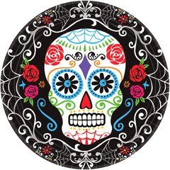 """Day of The Dead Round Plates, 7"""""""