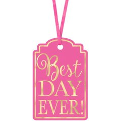 Best Day Ever Printed Tags - Bright Pink