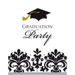 Black & White Grad Postcard Invitations