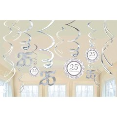 25th Anniversary Value Pack Hanging Decorations-Silver