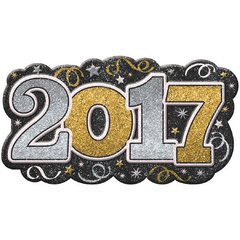 2017 Glitter Vac Form Sign - Black, Silver, Gold