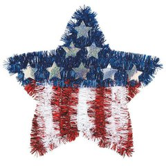 American Flag Tinsel Star