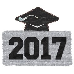 2017 Grad Tinsel Decoration - Black