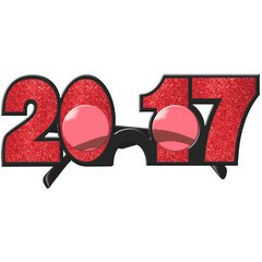 2017 New Year's Glitter Glasses - Red