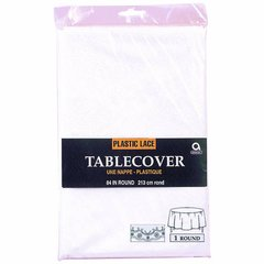 White Lace Round Plastic Table Cover