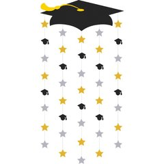 Grad Cap Doorway Curtain - Black, Silver, Gold
