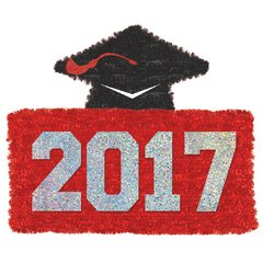 2017 Grad Tinsel Decoration - Red
