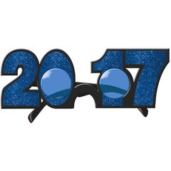 2017 New Year's Glitter Glasses - Bright Royal Blue