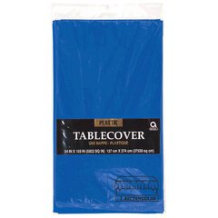 "Bright Royal Blue Rectangular Plastic Table Cover, 54"" x 108"""