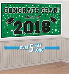 """2018"" Green Grad 2018 Horizontal Banner"