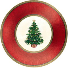 Classic Christmas Tree Metallic Plates, 12""