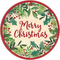 Merry Holly Day Round Plates, 7""