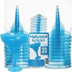 Transparent Blue Plastic Margarita Glasses 8oz 20ct