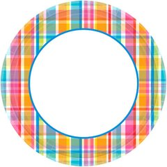 "Bright Border Round Plates, 10"""