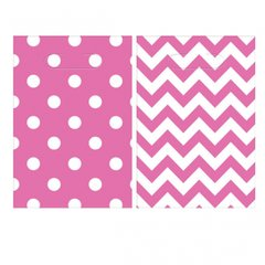 Chevron Loot Bags - Bright Pink