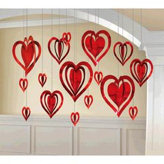 3-D Heart Kit Hanging Foil Decorations