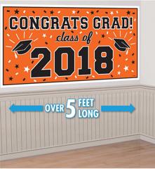 """2018"" Orange Grad 2018 Horizontal Banner"