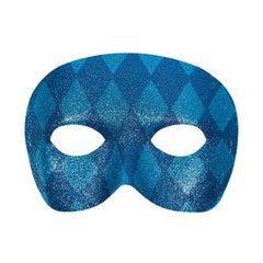 Glitter Blue Harlequin Masquerade Mask