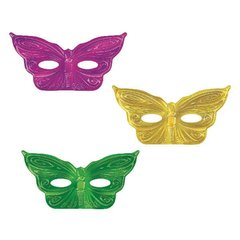 Mardi Gras Foil Butterfly Assorted Masks