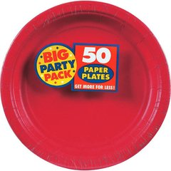 """Apple Red Big Party Pack Paper Plates, 9"""""""