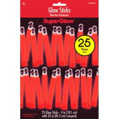 "Red, 4"" Glow Stick Mega Value Pack"