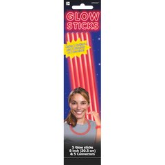 "Red, 8"" Glow Sticks, 5ct"