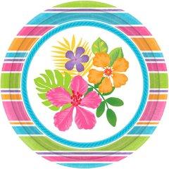 "Sophisticated Hibiscus 10 1/2"" Round Plates"