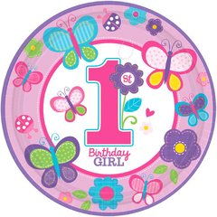 "Sweet Birthday Girl 10 1/2"" Round Plates"