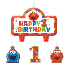 Sesame Street® Elmo Turns One Birthday Candle Set