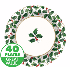Medium Seasonal Holly Value Plates 40ct