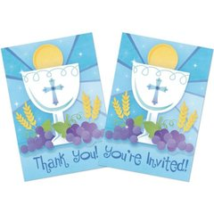 First Communion Blue Invitation & Thank You Card Value Pack