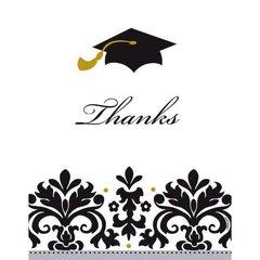 Black & White Grad Postcard Thank You Cards