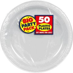 Silver Big Party Pack Plastic Plates, 10 1/4""
