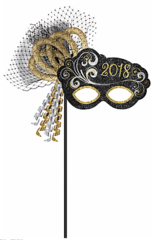 """2018"" New Year Mask On A Stick - Black, Silver, Gold"