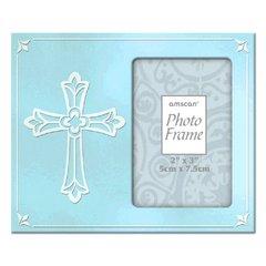 Religious Metal Frame Blue w/Cross