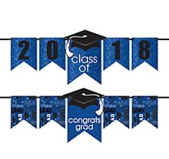 """""""2016-2019"""" Grad Personalized Glitter Letter Banner Kit - Blue"""
