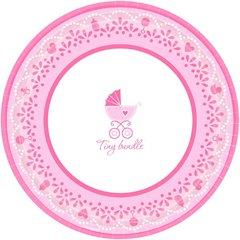 "Celebrate Baby Girl Round Plates, 10 1/2"""