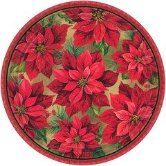 Holiday Poinsettia Round Plates, 12""