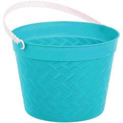 Weave Plastic Bucket - Aqua